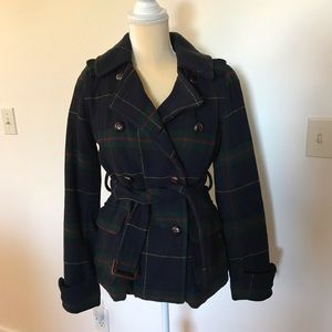 American Eagle wool plaid coat.